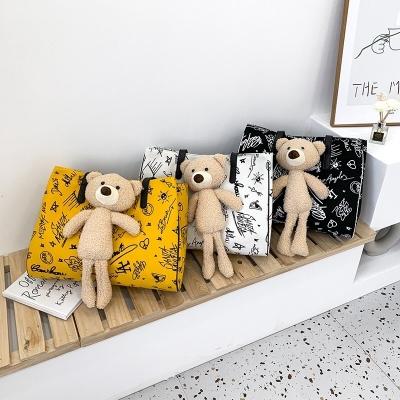 กระเป๋าสะพายข้างผ้าแคนวาส ถุงผ้าลาย น้องหมี มี 3 สี