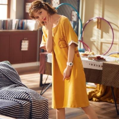 ชุดนอน เดรส สีเหลืองลายลูกเจี๊ยบ ผ้านิ่ม มี 2 size