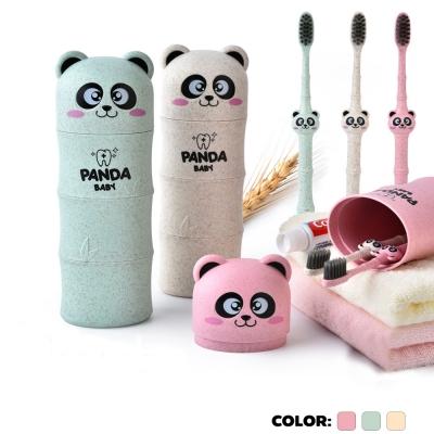 กล่องเก็บแปรงสีฟันรูปแพนด้าพร้อมแปรงสีฟัน ผลิตจากฟางข้าวสาลี (รหัสสินค้า RB511M) คละสี