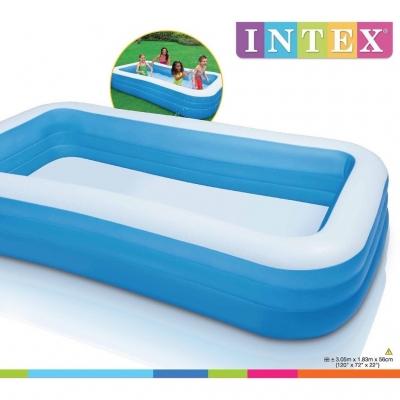 INTEX  สระน้ำเป่าลม 3 ชั้น ขนาดใหญ่ 3 เมตร Intex-58484 สีฟ้า.