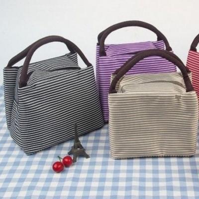 กระเป๋าถือลายทาง ทรงกระบอก อเนกประสงค์ มี 2 สี