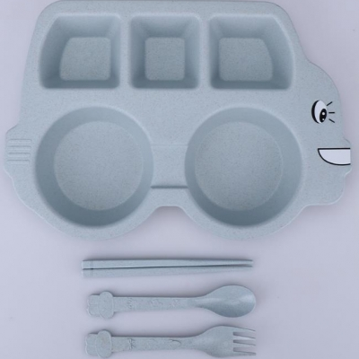 ชุดเซทจานข้าวเด็ก  ลายรถ สีฟ้า