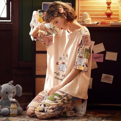ชุดนอนเสื้อแขนสั้น-กางเกงขายาว สีครีมลายการ์ตูน มี 2 size
