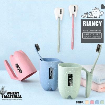 แก้วน้ำพร้อมช่องเสียบแปรงสีฟัน ผลิตจากฟางข้าวสาลี (รหัสสินค้า RL200M)