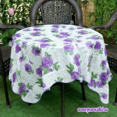 ผ้าปูโต๊ะลายดอกกุหลาบสีม่วง