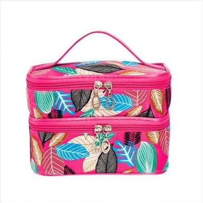 กระเป๋าเครื่องสำอางค์ 2 ชั้น ลายใบไม้ สีชมพู
