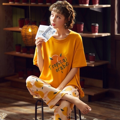 ชุดนอนเสื้อแขนสั้น-กางเกงขายาว ลายส้ม-สีส้ม มี 2 size