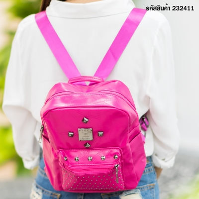 กระเป๋าแฟชั่นสะพายหลังสีชมพู