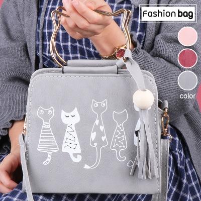 กระเป๋าสะพายข้างหนัง PU พิมพ์ลายแมวแฟชั่นสตรี  คละสี