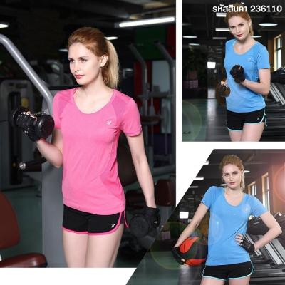 เสื้อยืดสตรีแห้งเร็วสำหรับเล่นกีฬาออกกำลังกาย ฟรีไซส์ คละสี