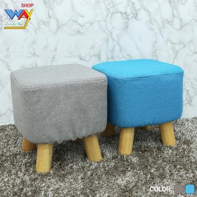 เก้าอี้สตู เบาะนิ่ม ขาไม้ คละสี ขนาด 26x26x10 คละสี