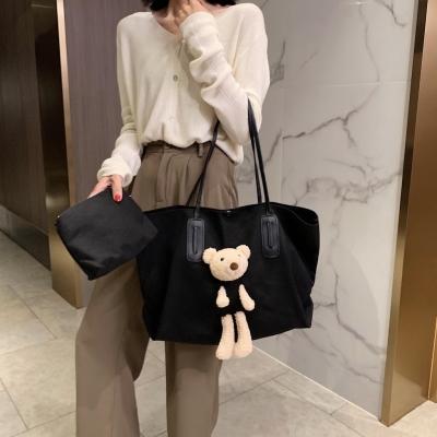 กระเป๋าสะพายข้างผ้าแคนวาสตุ๊กตาหมี  มี 2 สี