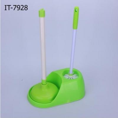 ชุดปั้มและทำความสะอาดโถสุขภัณฑ์ สีเขียว 2in1