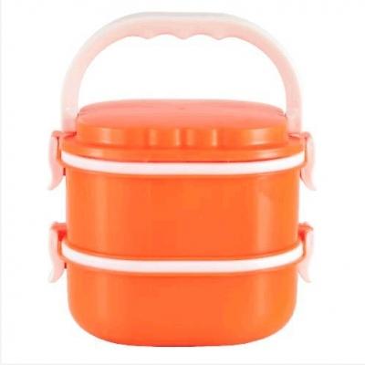ปิ่นโตพลาสติกใส่อาหาร 2 ชั้น สีส้ม