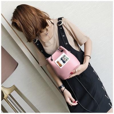 กระเป๋าแฟชั่นลายแมว 2 ใบ/เซต สีชมพู