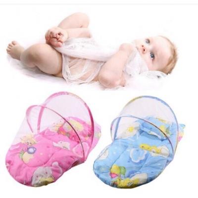 มุ้งนอนสำหรับเด็กทารก ที่นอนเด็กแบบพับเก็บได้ พร้อมมุ้งและหมอน ขนาดเล็ก - ชมพู