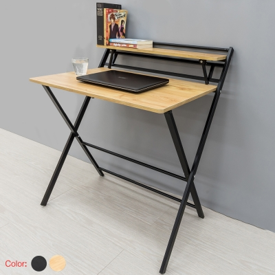 โต๊ะคอมพิวเตอร์  พร้อมชั้นวาง แบบกาง/พับได้ คละสี (ดำA3435)