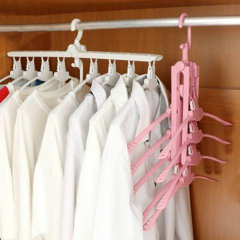 ชุดไม้แขวนผ้าพับได้ 8 ตัวแขวน คละสี